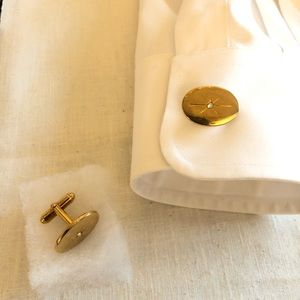 Vintage ANSON Cufflinks with Star in Gold & box
